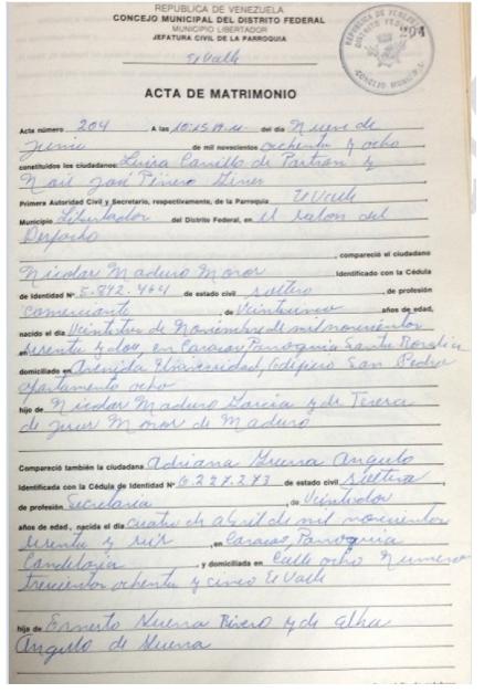 Registro Matrimonio Catolico Notaria : Asambleave hramosallup nicolasmaduro es colombiano